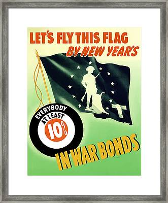 World War Two Minuteman Flag  Framed Print