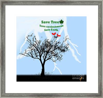 World With Tree Framed Print