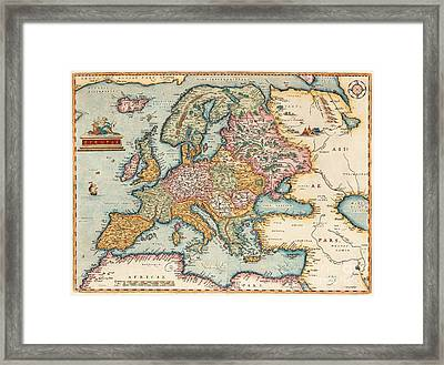 Worldmap America And Portrait Framed Print by MotionAge Designs