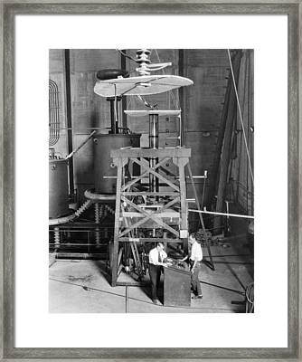 World's Largest X-ray Tube Framed Print by Underwood Archives