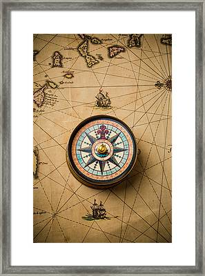 Worn Antique Map And Compass Framed Print