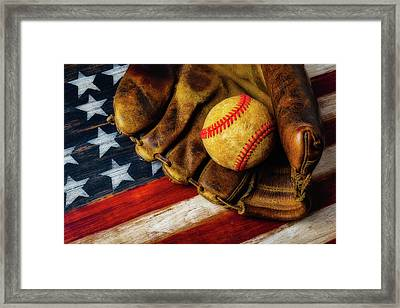 Worn Ball And Mitt Framed Print