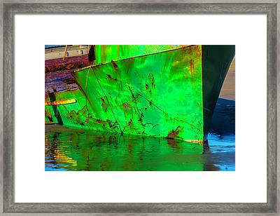 Worn Beached Green Fishing Boat Framed Print by Garry Gay