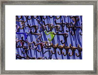 Worn Clothing Hooks Framed Print by Garry Gay