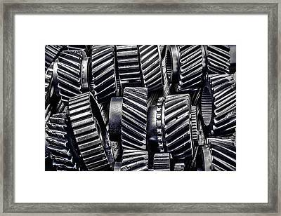 Worn Graphic Gears Framed Print