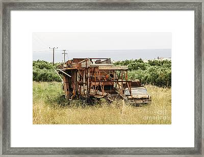 Worn Out Harvester And Car Framed Print by Kim Lessel