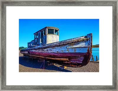 Worn Weathered Boat Framed Print