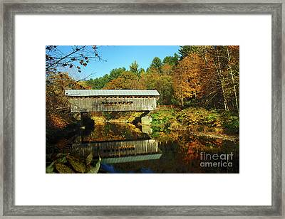 Worrall's Bridge Vermont - New England Fall Landscape Covered Bridge Framed Print by Jon Holiday