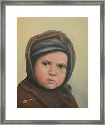 Worried Boy On Ellis Island Framed Print