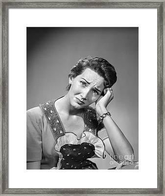 Worried Woman Framed Print by Debrocke/ClassicStock