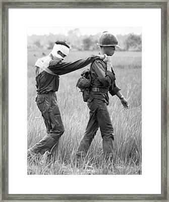 Wounded Vietnamese Soldier Framed Print by Underwood Archives