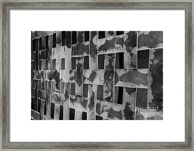Woven Black And White Textured Bands Framed Print