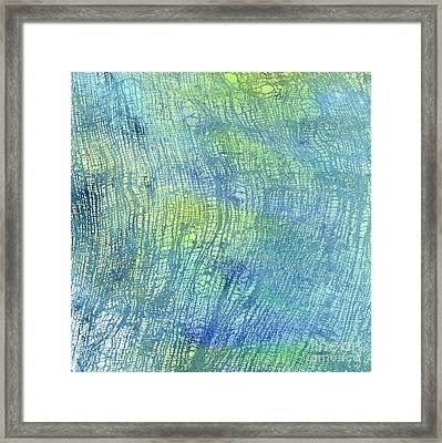 Woven Watercolor Texture Design Blue Gold Square 1 Framed Print
