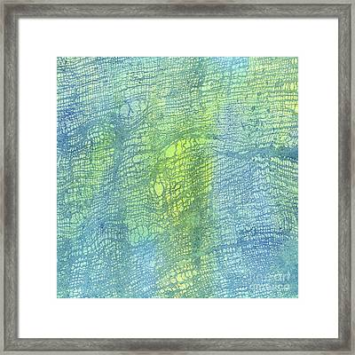Woven Watercolor Texture Design Blue Gold Square 2 Framed Print