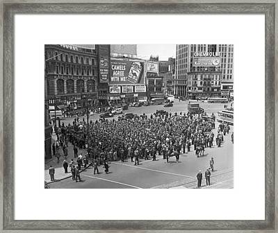 Wpa Pickets At Columbus Circle Framed Print by Underwood Archives