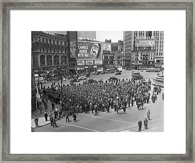 Wpa Pickets At Columbus Circle Framed Print