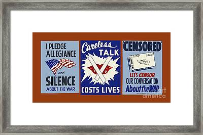 Wpa Posters 034  Careless Talk Costs Lives Framed Print by WPA Works Progress Administration