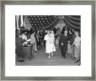 Wpa Sewing Shop Framed Print by Underwood Archives