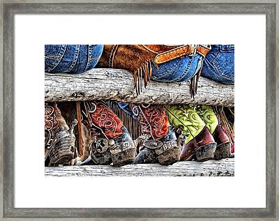 Wrangler Boots Butts And Spurs Framed Print