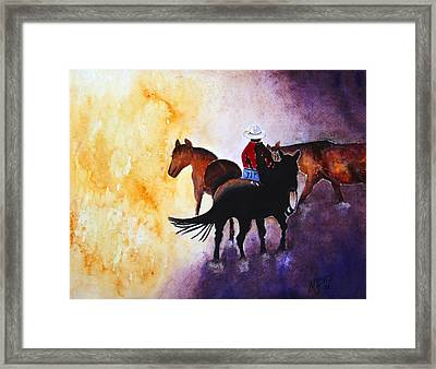 Wranglers Work Day Framed Print by Mary Gaines
