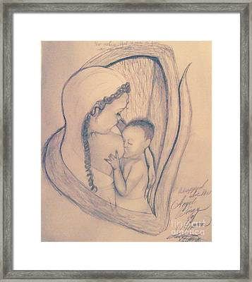 Wrapped Within The Angel Wings Of Momma Framed Print by Talisa Hartley