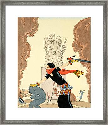 Wrath Framed Print by Georges Barbier