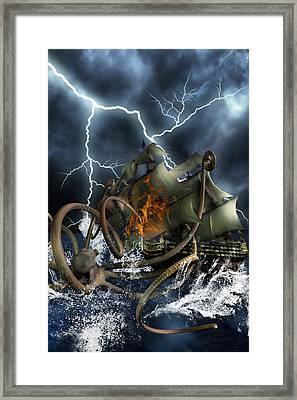 Wrath Of Kraken Framed Print by Emma Alvarez