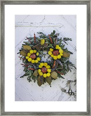 Wreath At Colonial Nursery In Williamsburg Framed Print