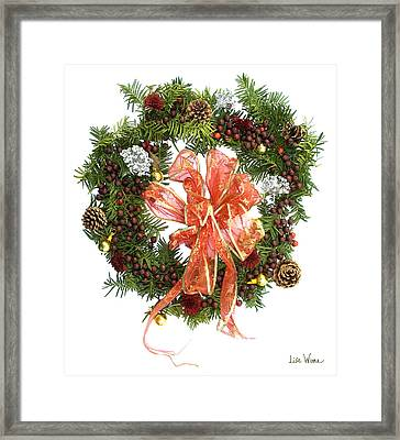 Framed Print featuring the digital art Wreath With Bow by Lise Winne