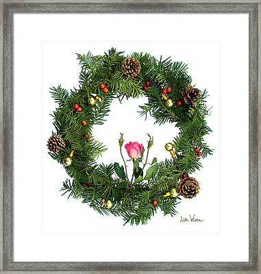 Framed Print featuring the digital art Wreath With Rose by Lise Winne