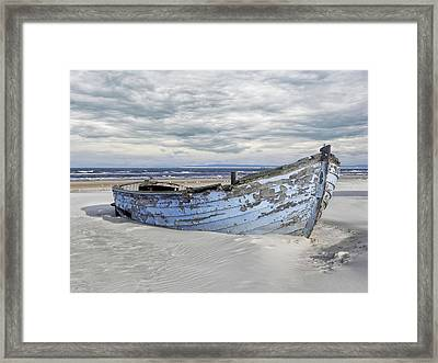 Wreck Of A Barge On A Baltic Beach Framed Print