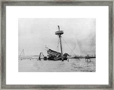 Wreckage Of Uss Maine, 1898 Framed Print