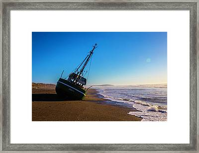 Wrecked Fishing Boat Framed Print by Garry Gay