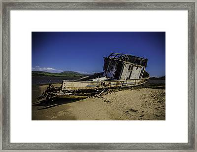 Wrecked On A Sand Bar Framed Print by Garry Gay