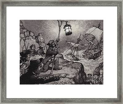 Wreckers At Work On The Shores Of Cornwall  Framed Print by Pat Nicolle