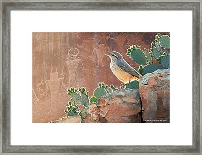 Wren At Capitol Reef Petroglyphs Framed Print by R christopher Vest