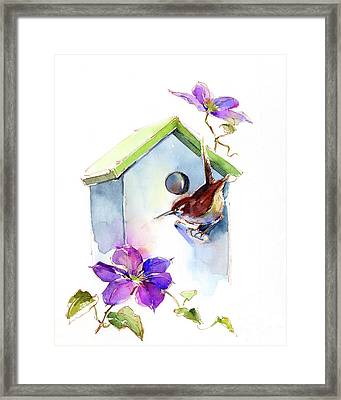 Wren With Birdhouse And Clematis Framed Print