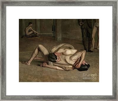 Wrestlers, 1899  Framed Print by Thomas Cowperthwait Eakins