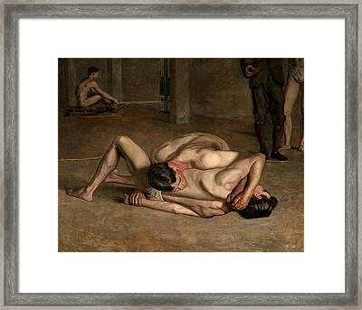 Wrestlers Framed Print by Thomas Eakins