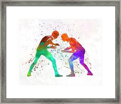 Wrestlers Wrestling Men 01 In Watercolor Framed Print