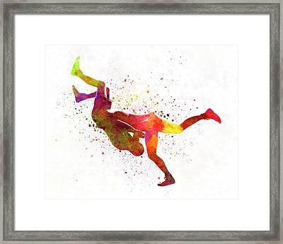 Wrestlers Wrestling Men 02 In Watercolor Framed Print