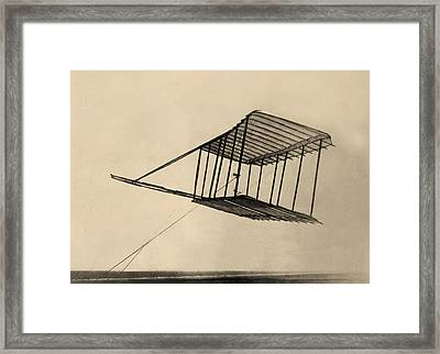 Wright Bothers Glider In Flight 1900 Framed Print by Bill Cannon