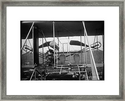 Wright Brothers Close Up View Of Airplane Including The Pilot And Passenger Seats Framed Print by R Muirhead Art