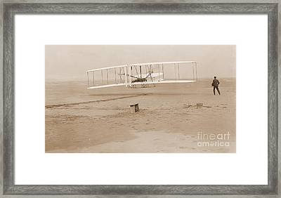 Wright Brothers First Powered Flight Framed Print by Padre Art