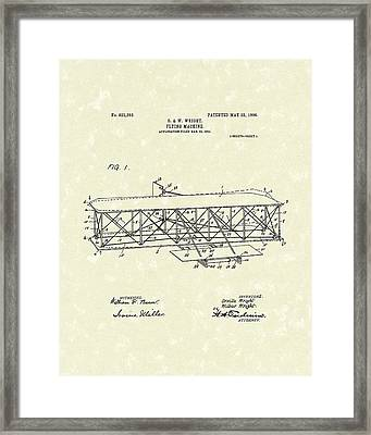 Wright  Brothers Flying Machine 1906 Patent Art Framed Print by Prior Art Design