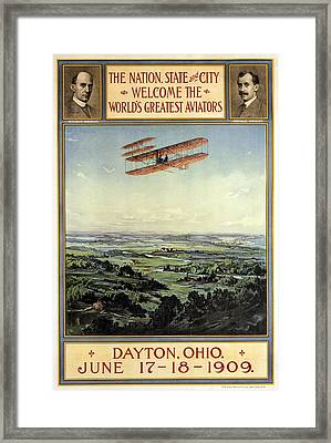 Wright Brothers - World's Greatest Aviators - Dayton, Ohio - Retro Travel Poster - Vintage Poster Framed Print