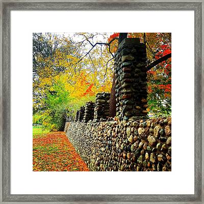 Wright Park Stone Wall In Fall Framed Print