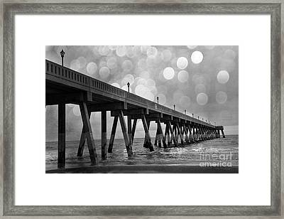 Wrightsville Beach North Carolina Ocean Fishing Pier Black And White Photography Framed Print by Kathy Fornal