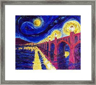 Wrightsville Bridge At Night Framed Print by Paris Wyatt Llanso