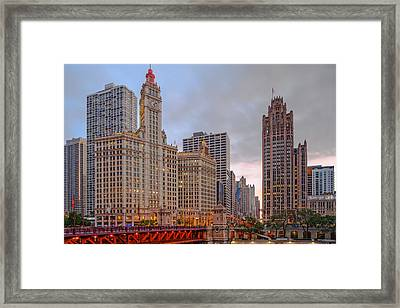 Wrigley And Chicago Tribune Buildings - Michigan Avenue Dusable Bridge Chicago Illinois Framed Print by Silvio Ligutti